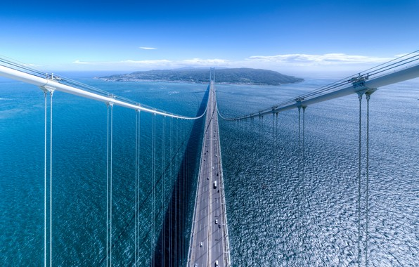 Picture sea, the sky, water, bridge, the city, Strait, island