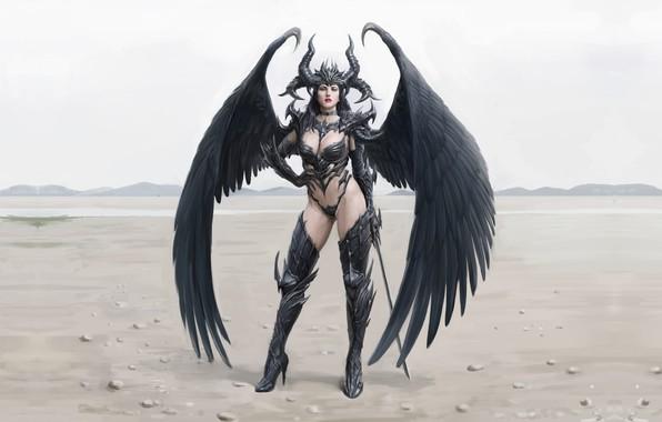Picture the demon, fantasy, art, Queen, yongwon park, Demon queen