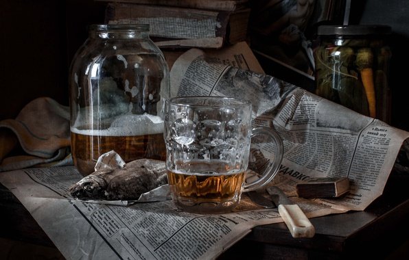 Picture beer, matches, fish, knife, mug, newspaper, Bank, roach