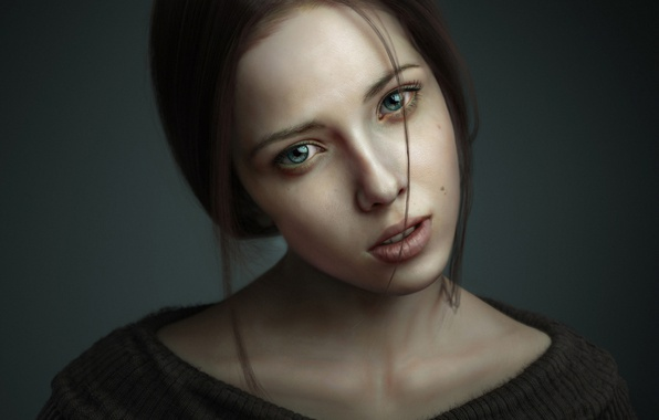 Picture look, girl, portrait, 3ds max, render, photoshop, zbrush, Portrait of Woman 3D Art by Pasquale …