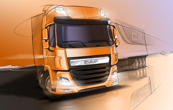 Picture figure, sketch, DAF, the sketch, tractor, DAF, the trailer, DAF CF