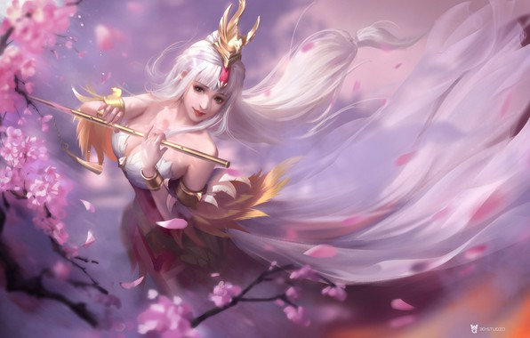 Picture the game, spring, Sakura, fantasy, art, bard, 3Q STUDIO, King of Glory 王昭君 fanfiction