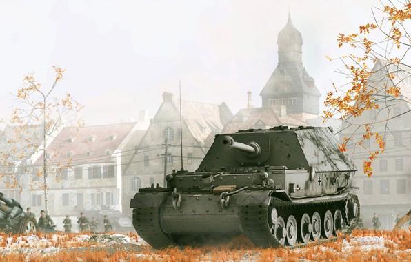 Picture autumn, art, soldiers, gun, structure, SAU, the second world war, the Wehrmacht, Ferdinand, killer tanks