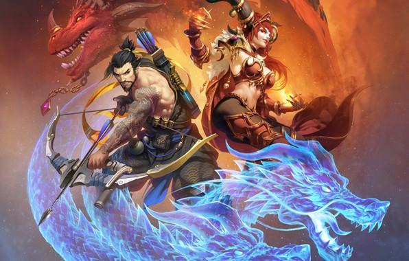 Picture blizzard, art, dragon, overwatch, hanzo, Hanzo Shimada