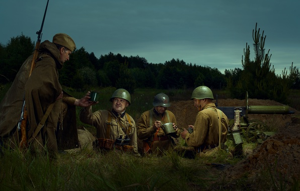 Picture war, soldiers, May 9, machine gun, for the holiday of the great victory, Banner