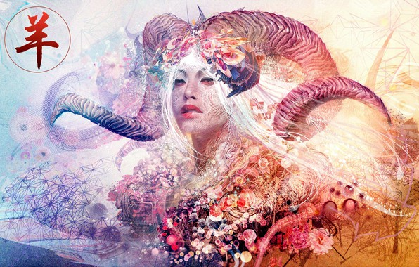 Photo wallpaper colors, colorful, abstract, girl, horns, texture, eyes, face, rendering, asian, digital art, artwork, Aries, Psychedelic, ...