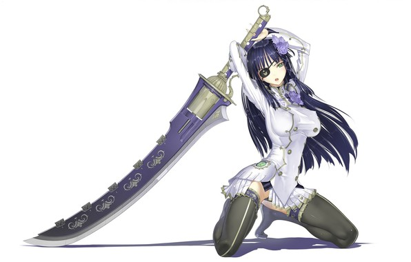 Picture shadow, sword, white background, long hair, art, on my knees, black stockings, eye patch, super-weapons, …