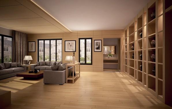 Picture design, room, furniture, pictures, sofas, living room, vases