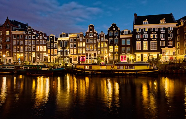 Picture the sky, lights, river, home, the evening, Amsterdam, lights, channel, Netherlands, bikes