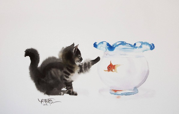 Picture kitty, figure, aquarium, watercolor, goldfish, painting, picture, Yutaka Murakami, Tabelkami Win In Mura