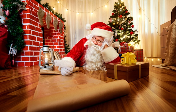 Picture holiday, tree, New Year, Christmas, gifts, tree, fireplace, Santa Claus
