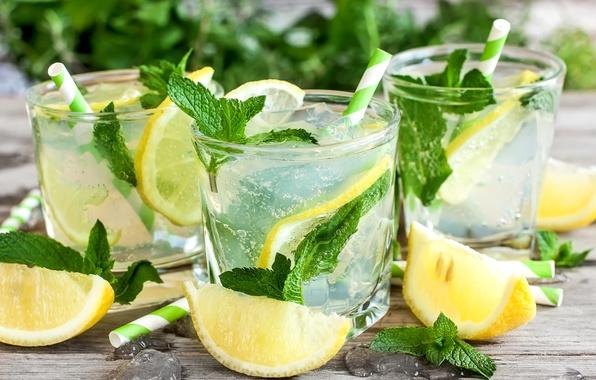Picture ice, lemon, Board, glasses, drink, mint, tube, lemonade
