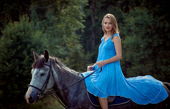 Picture forest, girl, trees, horse, makeup, dress, hairstyle, walk, beautiful, rider, blue, nature, bokeh, brown hair