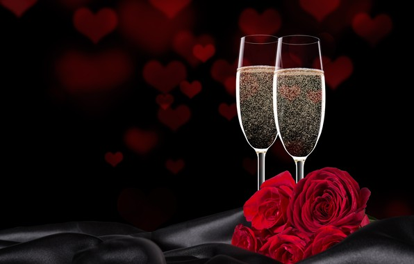 Picture flowers, roses, glasses, hearts, red, black background, champagne