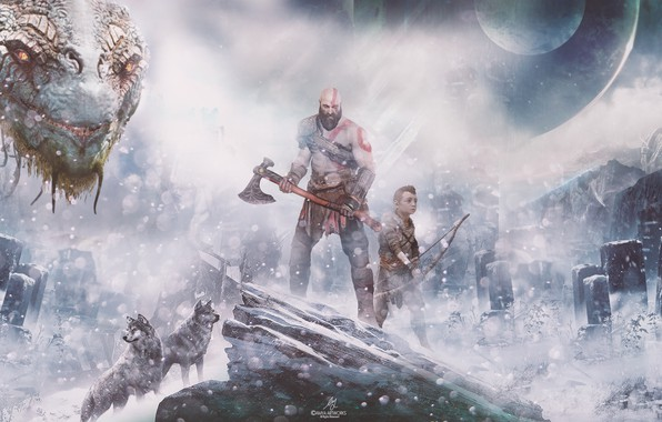 Picture Wars, Action, Red, Fantasy, Wolves, Dragon, Blizzard, Sony, Gods, Winter, Kratos, Playstation, God of War, ...