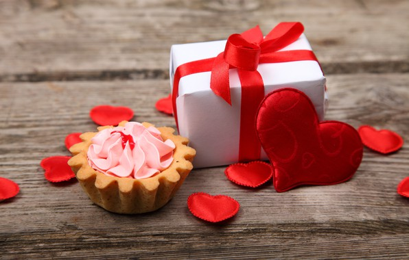 Picture love, gift, heart, hearts, love, cake, cream, heart, wood, romantic, Valentine's Day, gift, basket