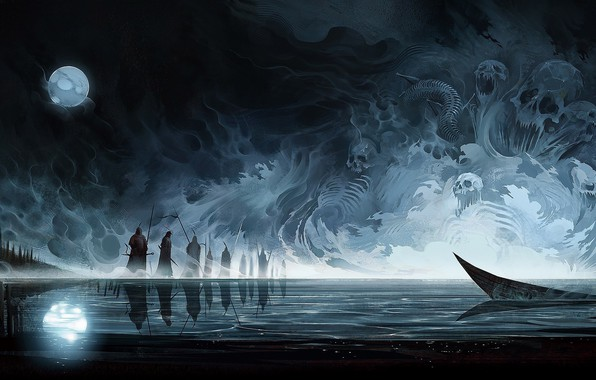 Picture abstract, sake, Moon, fantasy, water, lake, people, painting, death, digital art, artwork, boat, warrior, fantasy …