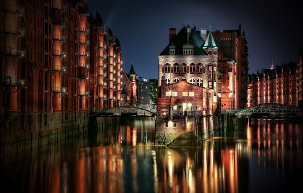 Picture night, the city, lights, home, the evening, Germany, channel, Hamburg