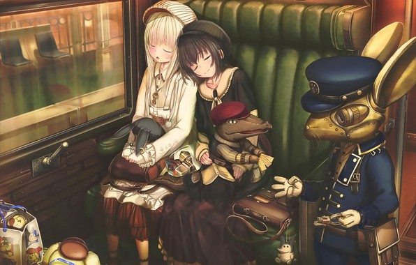 Picture girls, robot, anime, art, sleep