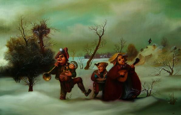 Picture musicians, Surrealism, Lazarev I. A, Winter music