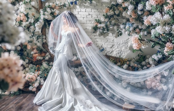 Picture flowers, pose, style, model, Asian, the bride, veil, wedding dress