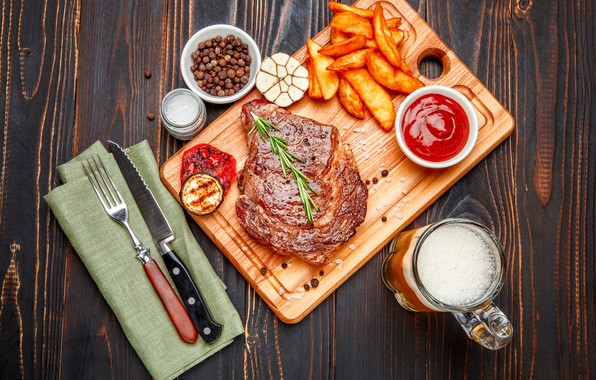 Picture beer, knife, meat, Board, plug, vegetables, sauce, spices, potatoes, free