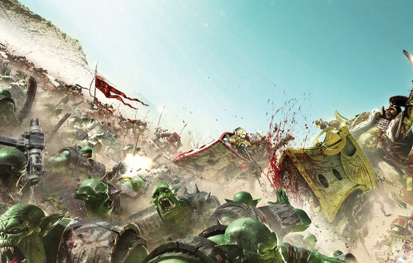 Picture blood, bike, space marines, battle, Warhammer 40 000, orc, Jaghatai Khan, ork, White Scars, xenos