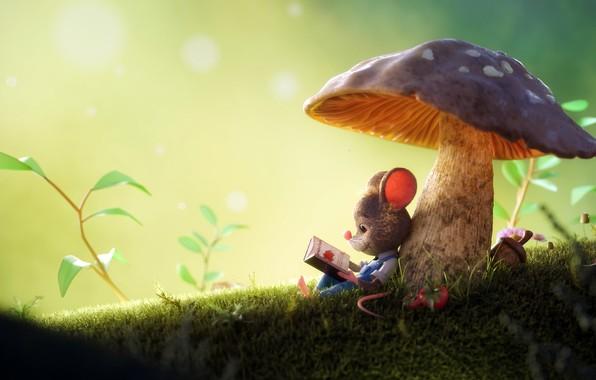 Picture mushroom, mouse, 3D art, Arthur Gatineau