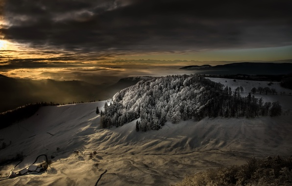 Picture winter, light, mountains, night, nature