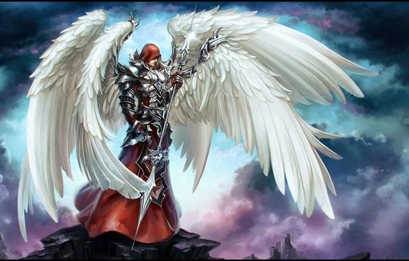 Picture wings, Angel, warrior, armor, weapon, wings, Angel