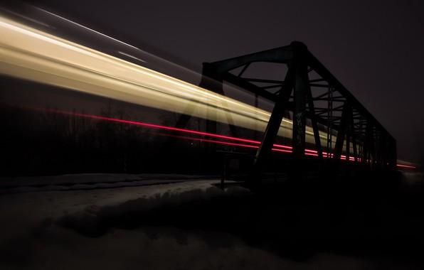 Picture road, night, bridge, lights