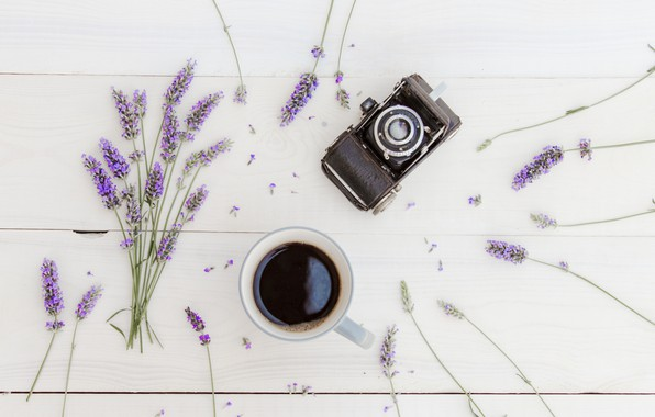 Picture coffee, bouquet, Cup, wood, flowers, lavender, cup, coffee, lavender