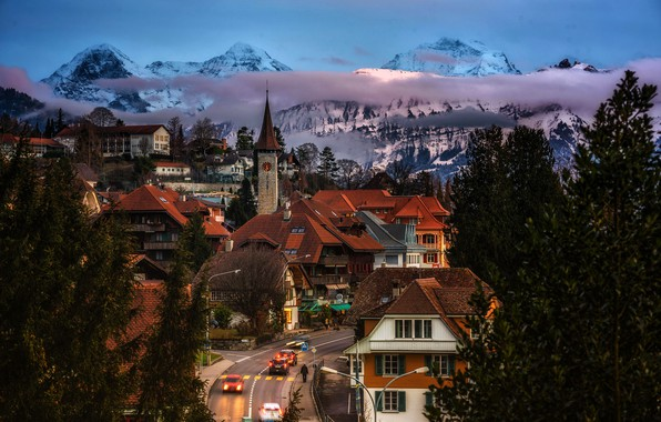 Picture road, clouds, trees, landscape, mountains, lights, street, home, the evening, Switzerland, roof, Canton of Berne, …