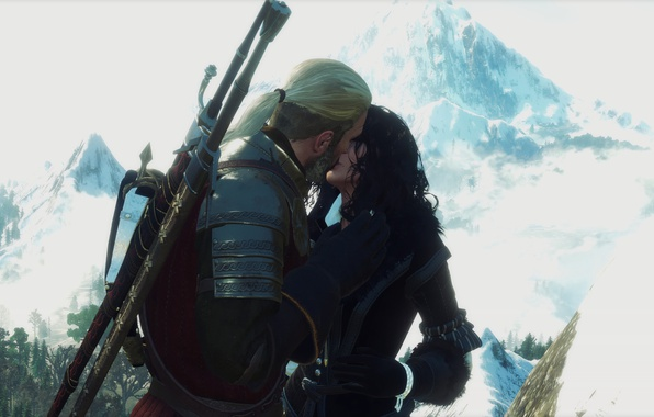 Picture kiss, The Witcher, The Witcher 3, Geralt, Yennefer, My Beautiful Love