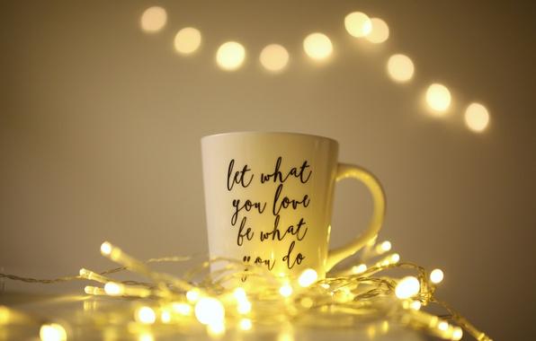 Picture lights, mug, garland
