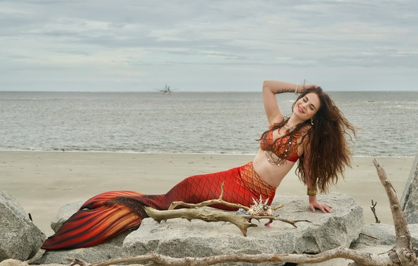 Picture sea, shore, mermaid