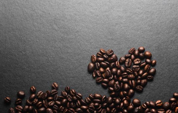 Picture background, heart, coffee, grain, love, heart, texture, background, beans, coffee, roasted