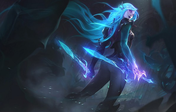 Picture Art, Splash, League of Legends, Katarina, LoL, Artwork, League Of Legends, Catarina, Swords, Death Sworn