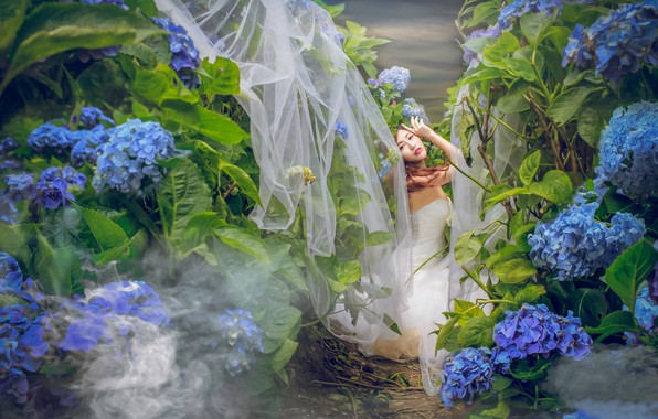 Picture flowers, pose, mood, thickets, Asian, the bride, wedding dress, hydrangea