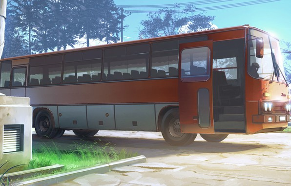 Picture road, wire, bus, Everlasting Summer, Summer camp