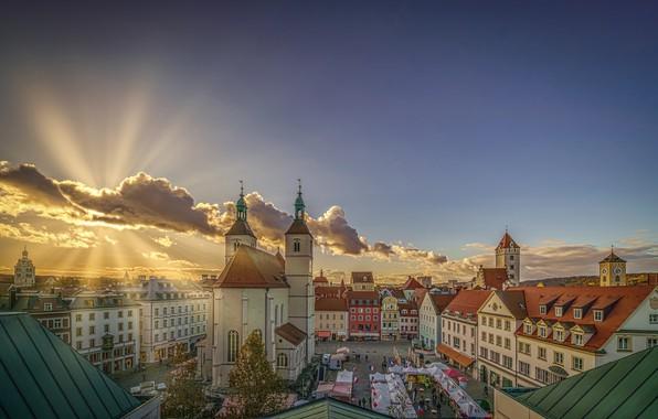 Picture rays, building, home, Germany, Bayern, area, Church, Germany, Bavaria, Regensburg, Regensburg, Neupfarr church, Neupfarrplatz