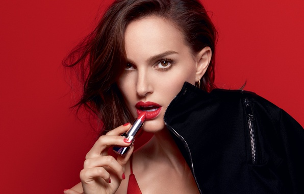 Picture look, red, face, background, model, portrait, makeup, advertising, actress, lipstick, brunette, jacket, hairstyle, lips, Natalie …