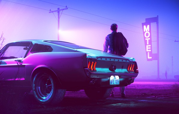 Picture Mustang, Ford, Auto, Night, Neon, People, Machine, Background, Ford Mustang, 1967, Fastback, Mustang GT, Motel, …