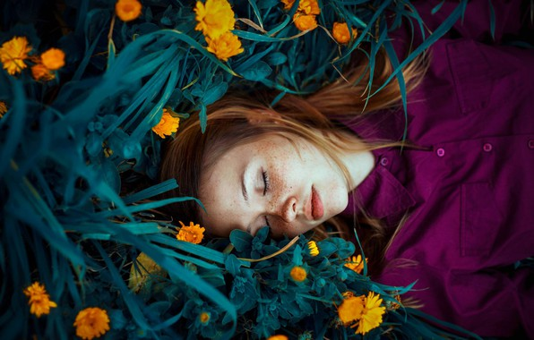 Picture grass, girl, flowers, sleep, freckles, red, redhead, calendula, Ronny Garcia, freckled, sleeping girl