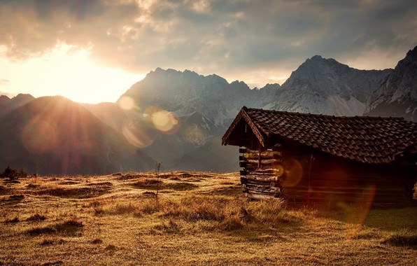 Picture mountains, house, morning
