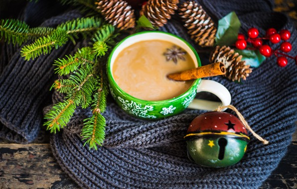Picture winter, branches, berries, holiday, Board, new year, Christmas, spruce, scarf, mug, drink, bumps, bell