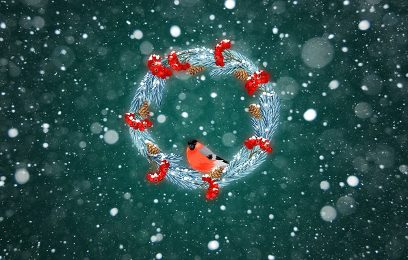 Picture Winter, Minimalism, Snow, Christmas, Background, New year, Bullfinch, Holiday, Mood, Wreath