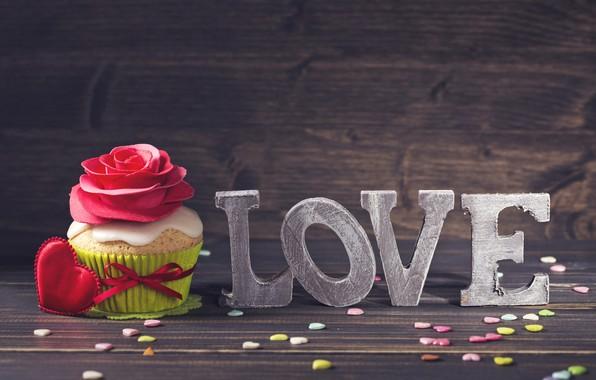 Picture love, romance, rose, Love, hearts, decoration, heart, cakes, romantic, hearts, Valentine's Day, cupcake, dessert, decoration