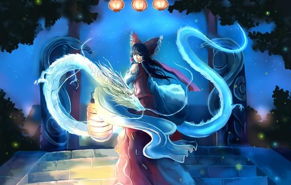 Picture night, fireflies, magic, dragons, lights, ladder, bow, priestess, art, from the back, Hakurei Reimu, Touhou …