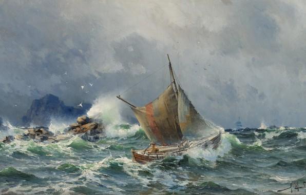 Picture wave, birds, stones, rocks, sail, boat, Herman Gustav Sillen, Stormy sea